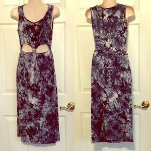 Navy blue and white tie dye cut out maxi dress